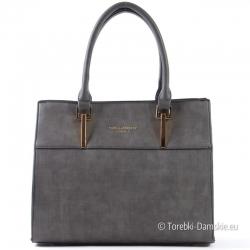 Kuferek szary - stylowa torebka damska ze złotymi ozdobami