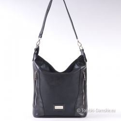 Lekka elegancka czarna torebka damska z kieszeniami na suwak