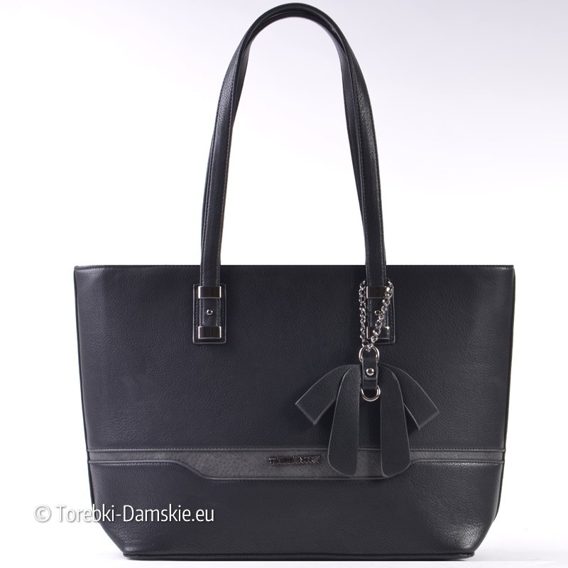 Czarna torba z szarą wstawką z przodu