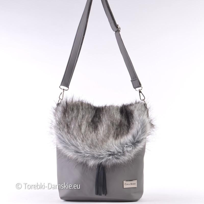 Szara torebka z futrzaną klapą