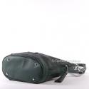 Zielona torebka damska średniej wielkości z dwoma suwakami z przodu
