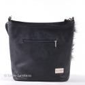 Czarna torebka z futrzaną klapą
