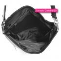 Wysokiej jakości torebka szara z wykończeniem podszewką w środku