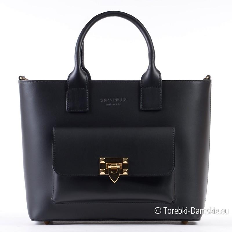 Czarna włoska torebka skórzana z kieszonką i ozdobnym złotym zapięciem
