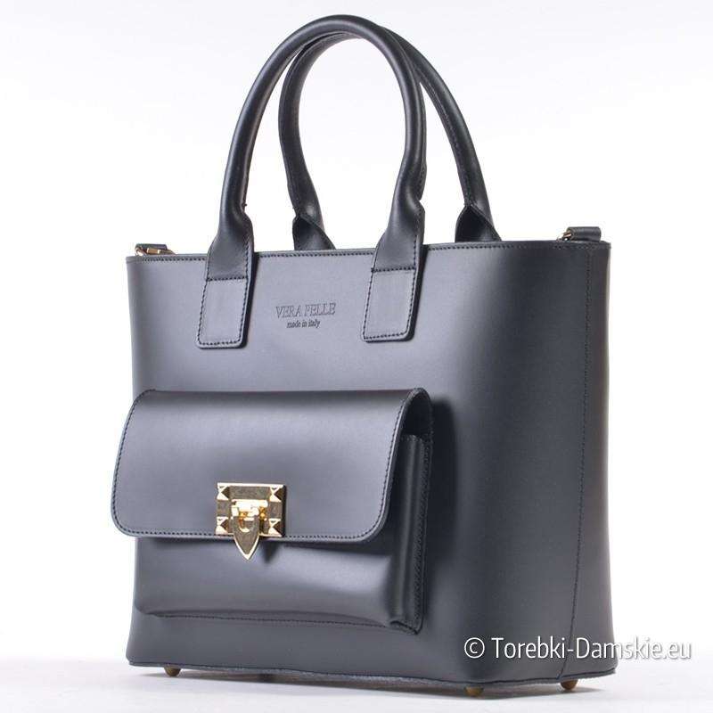3a206f9b0d5fc ... Czarna włoska torebka skórzana z kieszonką i ozdobnym złotym zapięciem  ...