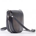 Czarna włoska skórzana torebka z ozdobnym suwakiem na obwodzie