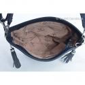 Granatowa torebka z chwostami - frędzlami z przodu