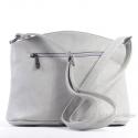 Szara torebka w jasnym odcieniu - listonoszka z dwoma kieszeniami
