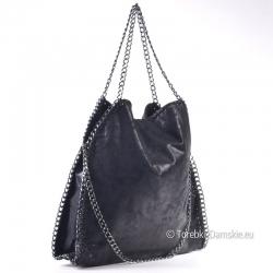 Czarna połsykująca torba z łańcuszkami