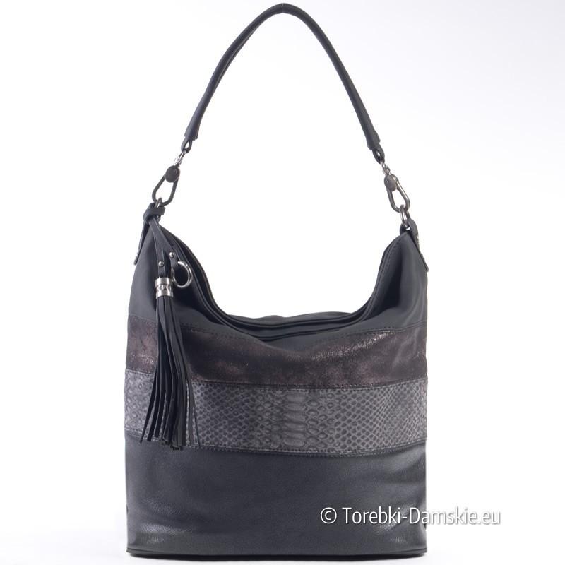 Czarna torba damska A4 z efektownym połyskującym poziomym pasem