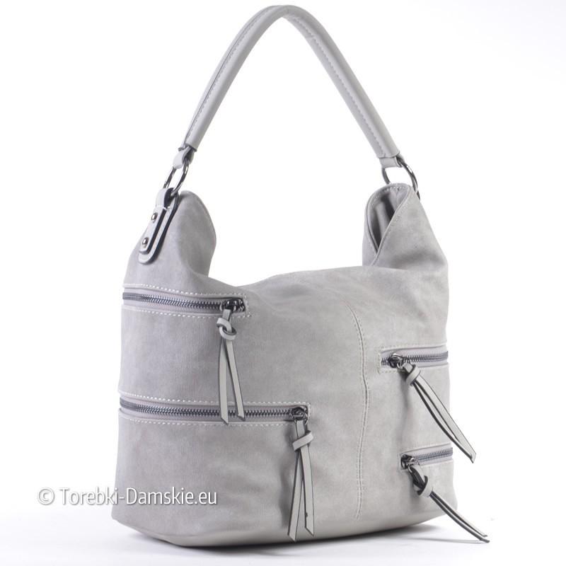 Szara torebka z ozdobnymi zamkami błyskawicznymi