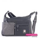 Czarno-szara dwukomorowa torebka z 6 kieszeniami zewnętrznymi