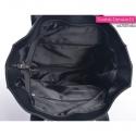 Czarna duża prostokątna torba miejska z dwoma kieszeniami