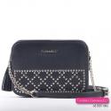 Czarna mała torebka - mini kuferek z łańcuszkami i ćwiekami metalowymi