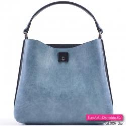 Niebiesko - czarna torebka z trzema komorami