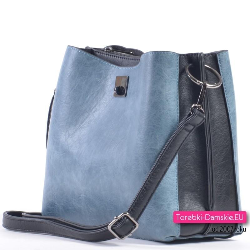 9073c04bc9bfa ... Niebiesko - czarna torebka z trzema komorami ...