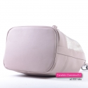 Beżowa torebka damska - worek na ramię/do przewieszenia - PUDROWY RÓŻ