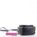 Czarna torebka dwukomorowa - mini - kuferek ze złotymi łańcuszkami