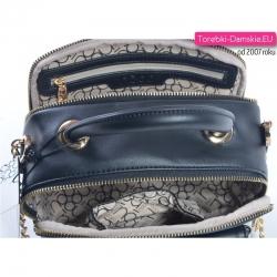 Mała dwukomorowa czarna modna torebka damska z nowej kolekcji