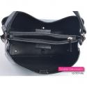 Szaro - czarna trójkomorowa torebka - kuferek