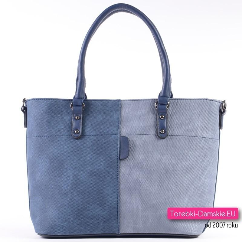 Granatowo - niebieska miejska pojemna torba damska