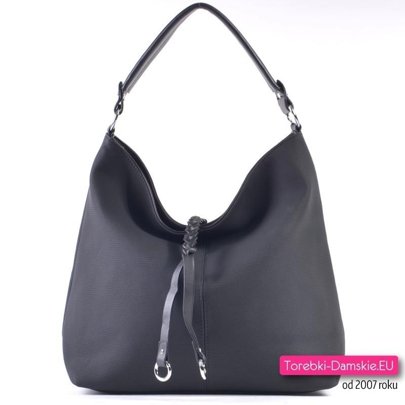 Elegancka czarna duża miejska torba na ramię - praktyczny worek