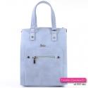 Błękitna pastelowa torebka damska z kieszenią z przodu