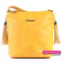 Żółta torebka crossbody w efektownym odcieniu z frędzlami