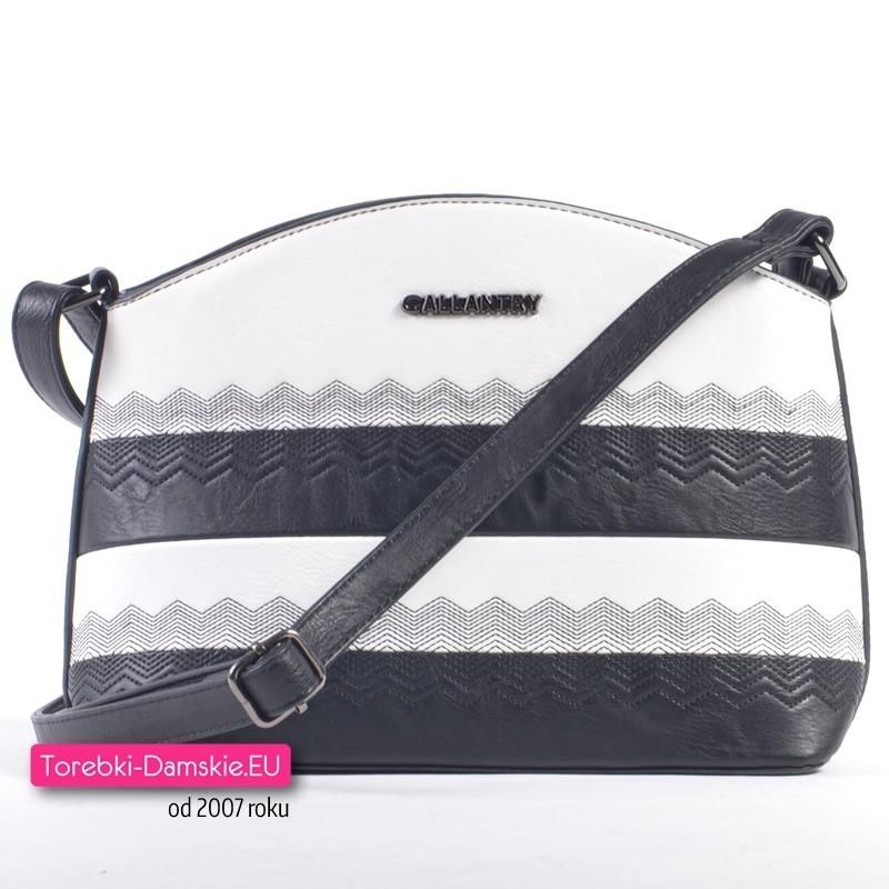 Biało - czarna torebka crossbody z ozdobnym wzorem