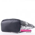 Miejska pojemna czarno - srebrna torba A4 - elegancki worek