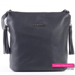 Czarna torebka do przewieszenia z chwostami