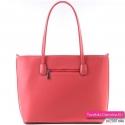 Pojemna czerwona miejska torba damska