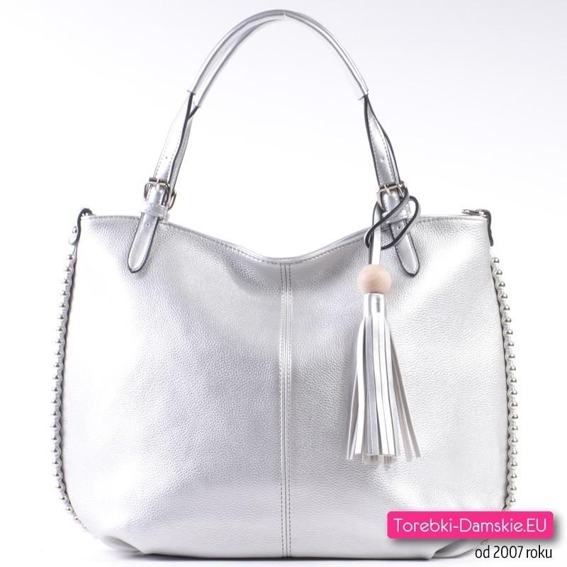 7a6aceafd2472 Elegancka torba shopper w kolorze srebrnym