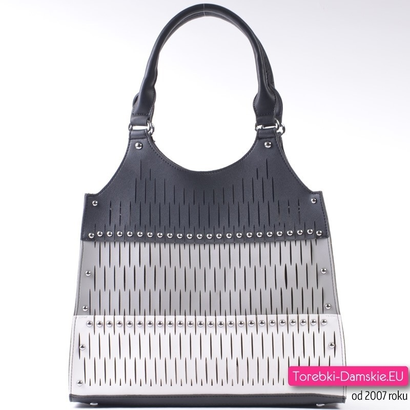 Czarno - biało - szara torba - komplet dwóch torebek