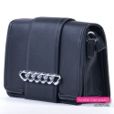 Efektowna czarna torebka crossbody - kopertówka z klapą