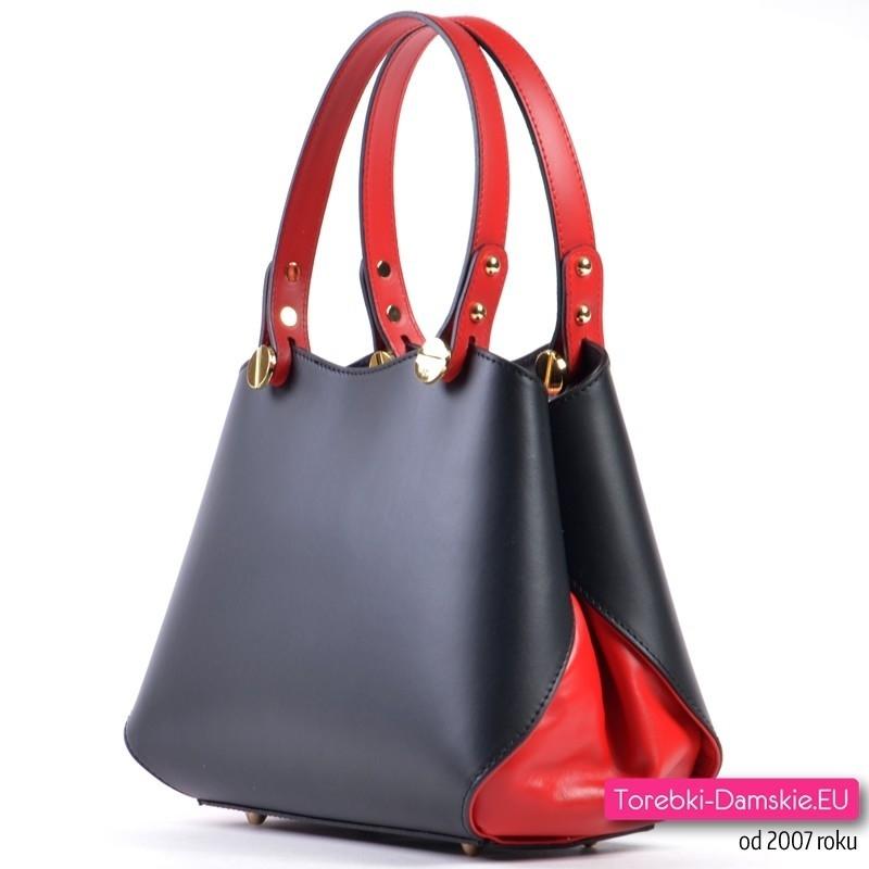 dce6e1590a4fb Czarno - czerwona torebka włoska ze skóry naturalnej
