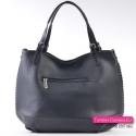 Duża torba z kieszenią zamykaną z tyłu - czarny shopper na ramię
