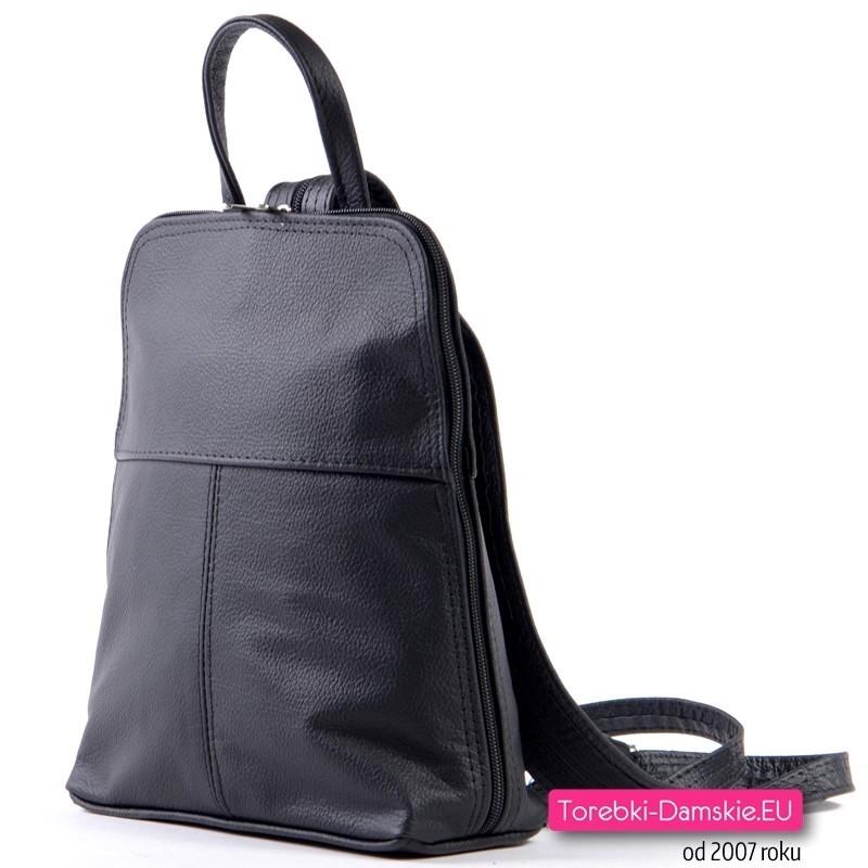 920e31ce6d35f Nowy Czarny plecak damski z naturalnej skóry licowej