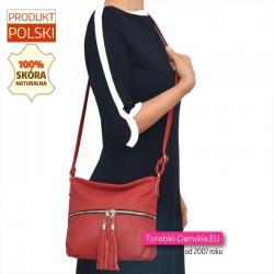 Skórzana czerwona torebka damska do przewieszenia ze srebrnym suwakiem z przodu