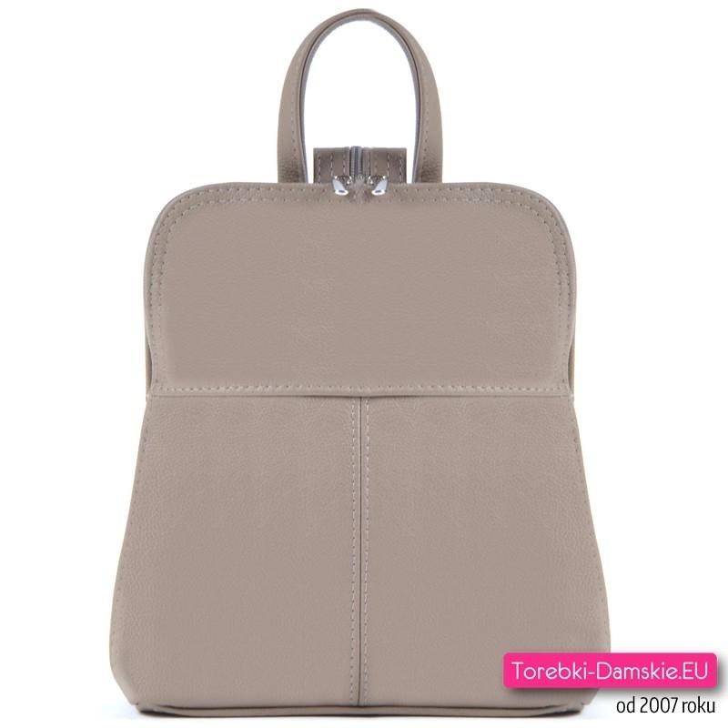 Skórzany beżowy plecak damski średniej wielkości
