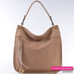 Pojemna beżowa miejska torba damska shopper