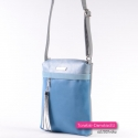 Prostokątna niebiesko - błękitna torebka crossbody