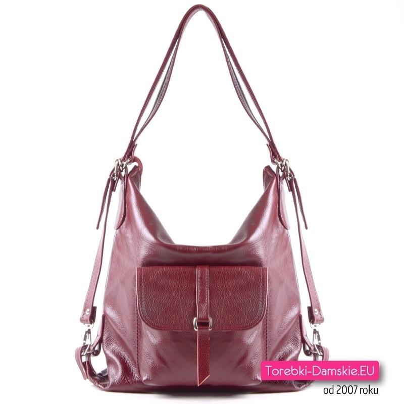 7e73dc1bd40a1 Bordowa torebka - plecak damski z miękkiej licowej skóry naturalnej