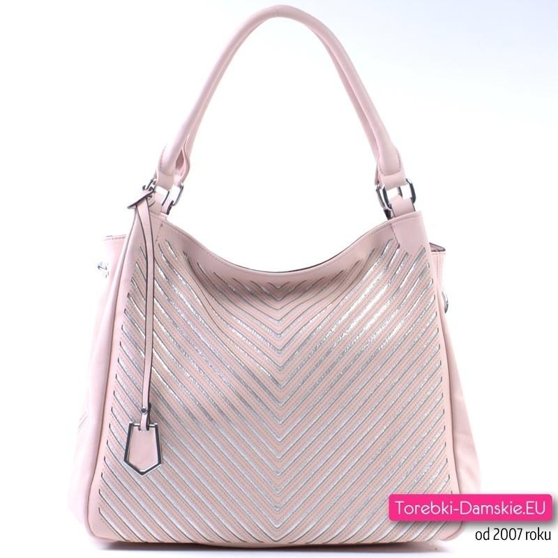 Różowo - srebrna pojemna torebka