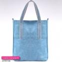 Jasnoniebieska torba shopper z dwoma kieszeniami z przodu
