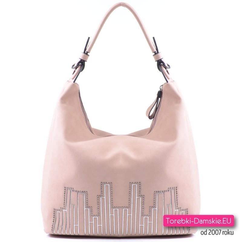Różowa torebka miejska w modnym pastelowym pudrowym odcieniu