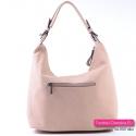Duża torba na ramię lub do przewieszenia, kolor różowy - modny odcień - kieszeń zamykana z tyłu