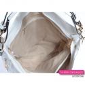Biała torebka damska ze złotymi suwakami