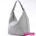Pojemna lekka torba ze skóry ekologicznej w kolorze popielatym