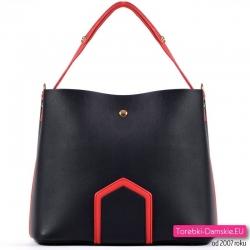 Czarno - czerwona torebka trójkomorowa